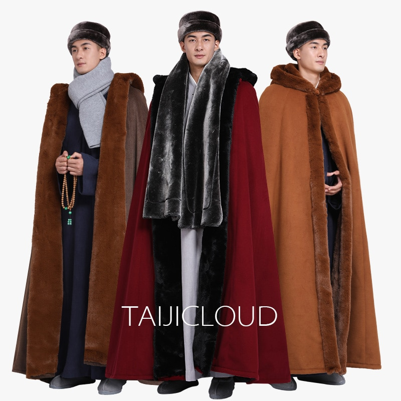 Plush velvet cloak Tibetan Buddhist Converting coat warm warm meditating Buddhist monks cloak cloak