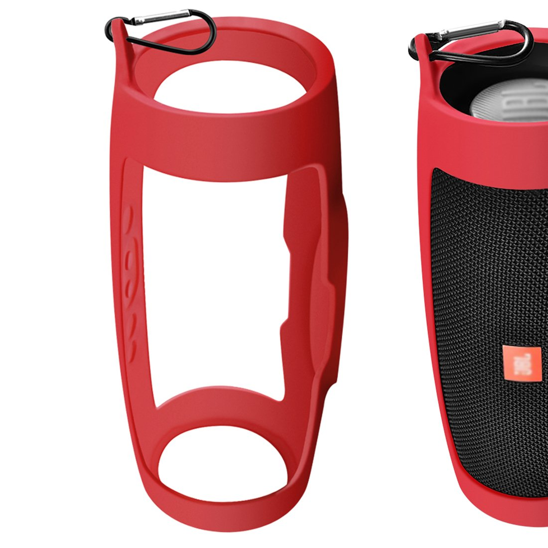 Protective Wearable Lightweight Silicone Case Cover Keychain for JBL Charge 4 Waterproof Portable Wireless Bluetooth Speaker