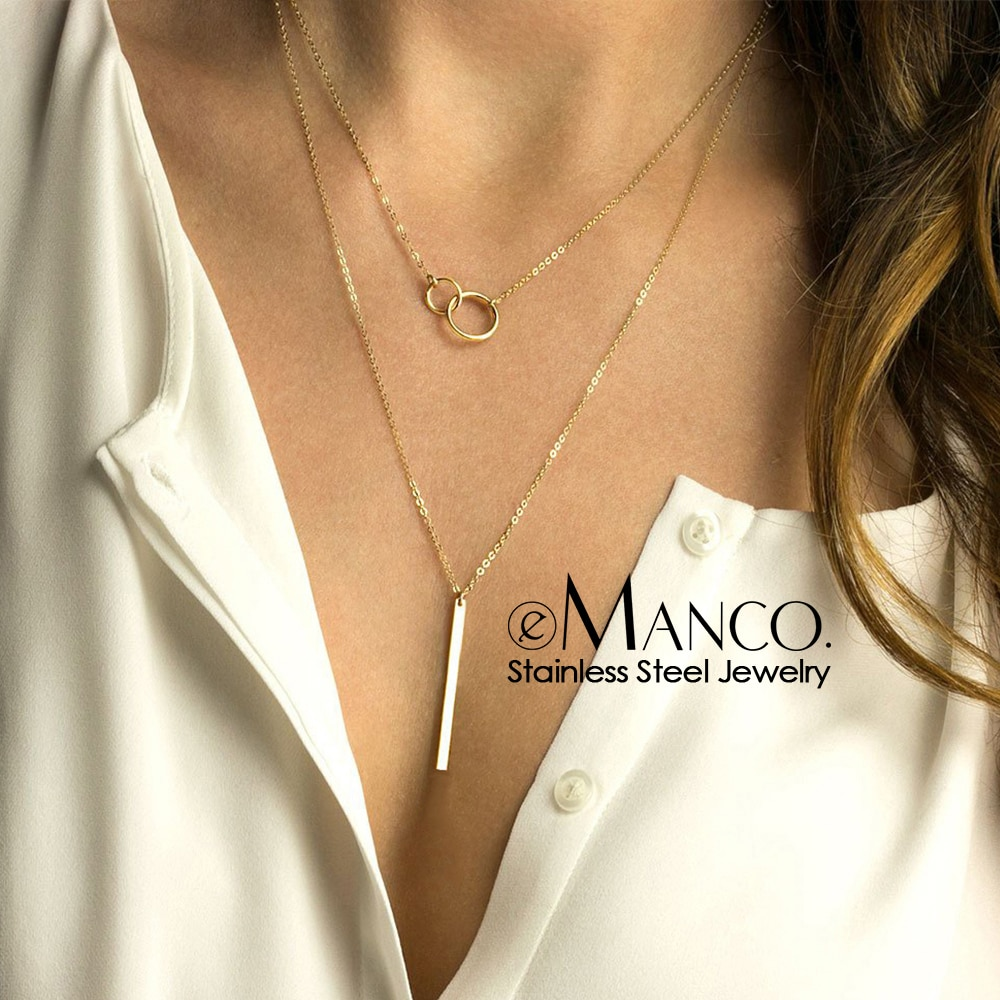 EManco Женские многослойные ожерелья из нержавеющей стали длинное ожерелье