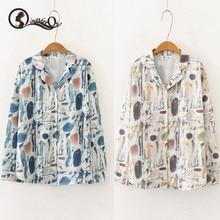 2019 Women Vintage Blouse Harajuky Shirt Fashion Print Lapel Shirts Turn down Collar Loose Single-breasted Long Sleeve Blouse
