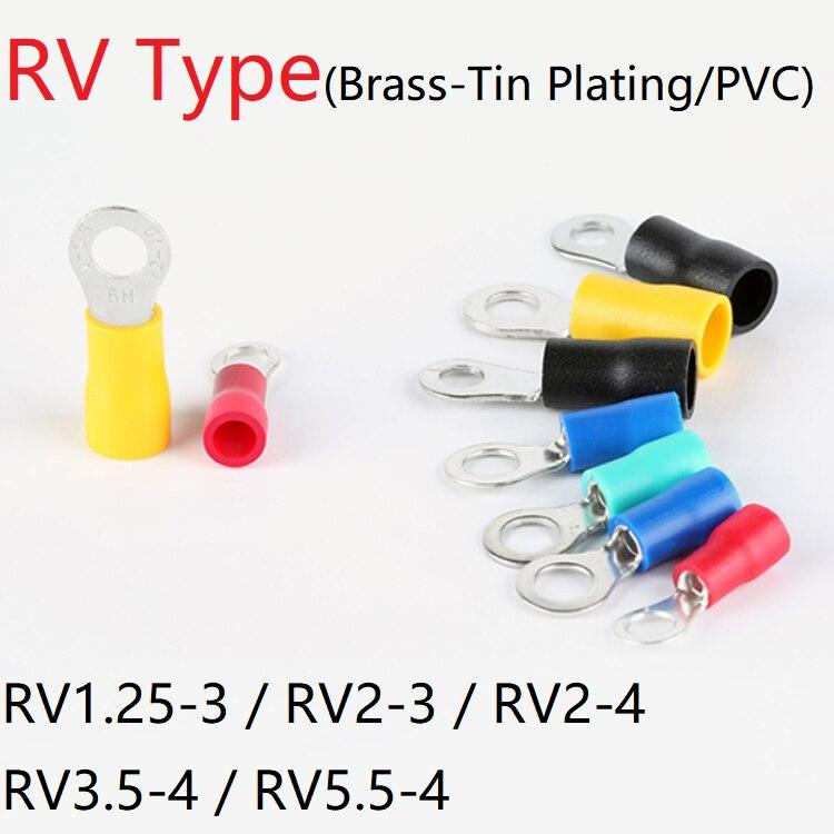 5pcs RV1.25-3 RV2-3 RV2-4 RV3.5-4 RV5.5-4 Wire Terminal Crimp Splice PVC Insulation Circular Round Cold Pressg Cable End Connect
