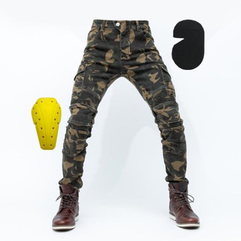Pantalones vaqueros negros con revestimiento protector de motociclista para hombre