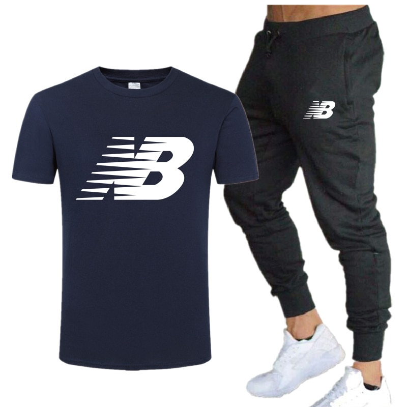 NB men's printed short-sleeved suit, two-piece cotton T-shirt sweatpants, casual sportswear suit, summer new style 2021