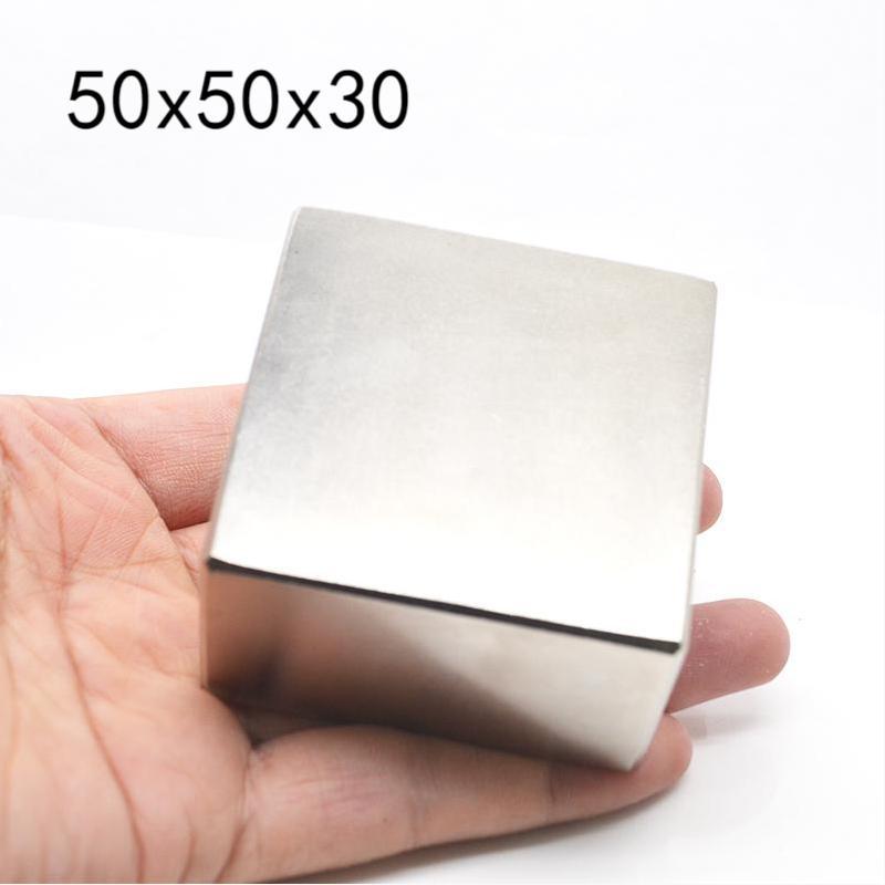 كتلة مغناطيسية مستطيلة N52 NdFeB ، قرص مغناطيسي مستطيل 50 × 50 × 30 مللي متر ، أرضية نادرة