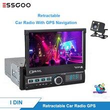 Essgoo-Autoradio 1 Din   Autoradio GPS Navigation, rétractable, Bluetooth voiture multimédia, Autoradio à écran tactile, Autoradio stéréo vidéo