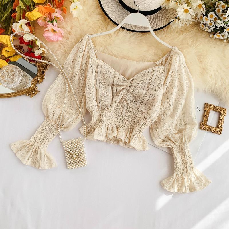 Korea Ins Sweet Short Crop Tops Autumn 2019 New Women V Neck Lace Long Lantern Sleeve  Blusas Mujer De Moda Shirts Blouse J374