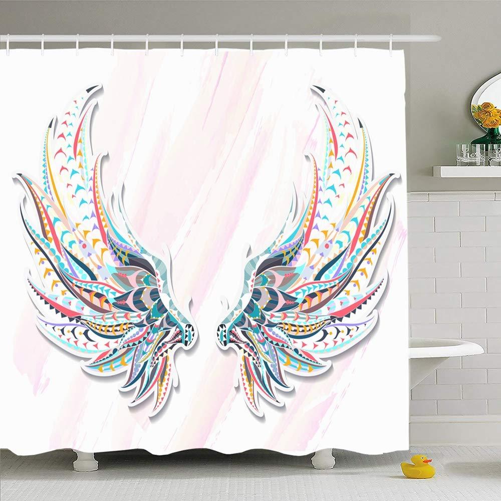 Набор душевых штор с крючками 66x72 книга дикие узорные крылья используется на Be Grunge африканские украшения животные Ангел дикая природа