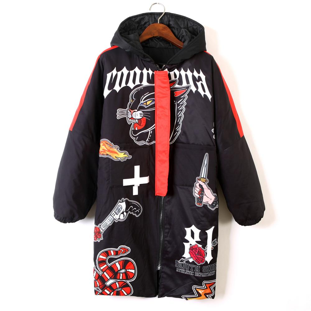Chaqueta de Invierno para mujer 2020 cálida gruesa de algodón acolchado con capucha abrigo Harajuku divertido Graffiti Hip Hop abrigo largo gran oferta en Rusia