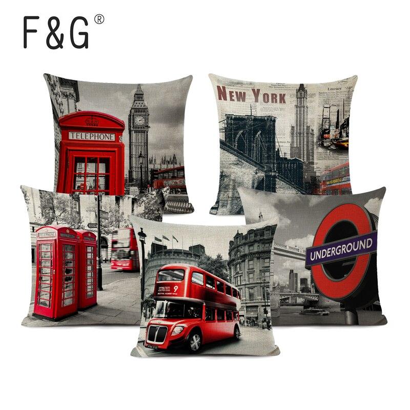 Fundas de cojín con estilo autobús ciudad mundialmente famosa almohadas decorativas para sofá linda oficina 18 algodón Lino hogar Londres cojín