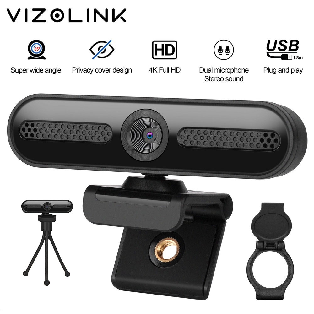 VizoLink W8D كاميرا الحقيقي 4K UHD 3840*2160P 800W بكسل زاوية واسعة كاميرا مع 2 الميكروفونات و ترايبود للفيديو مؤتمر