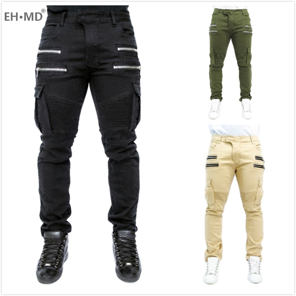 EH · MD® Men's Stretch Denim Trousers Fashion Trend Pleated Zipper Decoration Multi Pocket 2020 Black Khaki Slim Casual Jeans