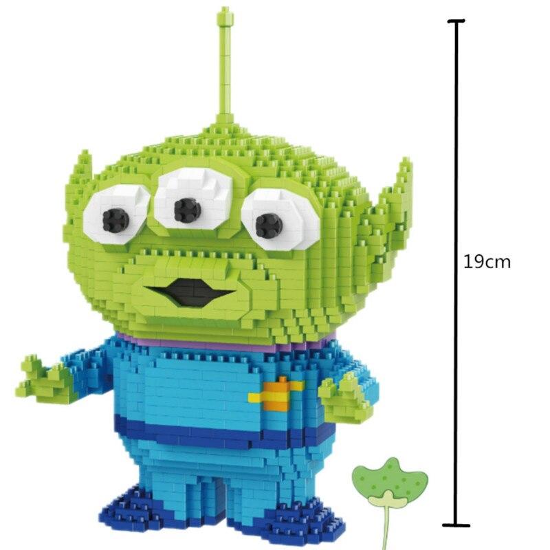 Мини-блоки 1780 шт., игрушки-конструкторы большого размера, Мультяшные пришельцы, Аниме фигурки-аукционы, микро-кирпичики, игрушки для детей, п...