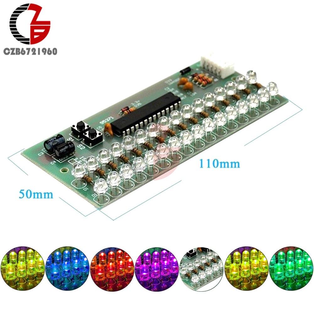 16 LED двухканальный сигнал MCU, регулируемый дисплей, узор, LED VU метр, светодиодный индикатор уровня, аудио, музыка, модуль выравнивания, постоянный ток 6 в 12 В