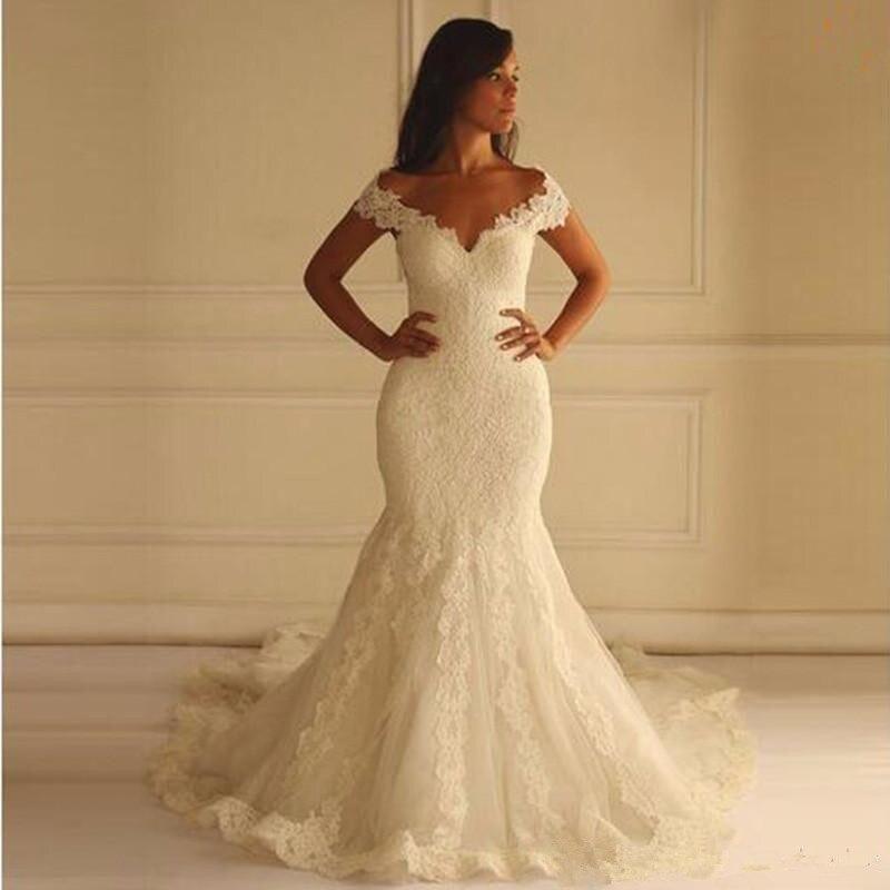 2020 fora dos ombros vestidos de noiva sereia mulheres medidas vestidos de novia sexy rendas appliqued vestidos de casamento