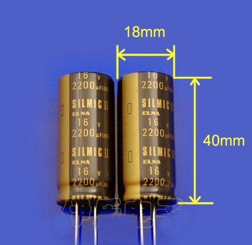 2 STUKS NIEUWE Thailand ELNA SILMIC II RFS 16V2200UF 18X40MM hot koop Originele audio elektrolytische condensator SILMICII 2200UF 16V
