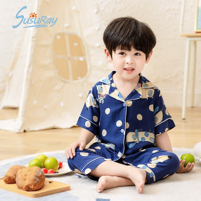 Susuray детская одежда с героями мультфильмов, ночная одежда Пижама для мальчиков; Сезон лето одежда для сна, пижамы, комплекты детской одежды д...