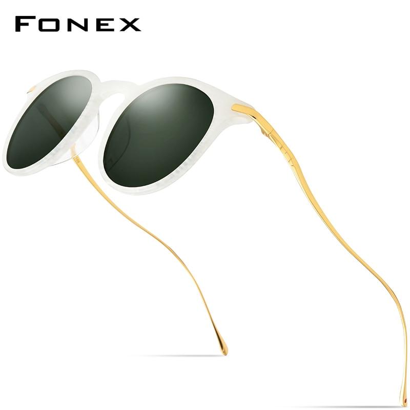 FONEX acetato de gafas de sol hombres Vintage redondo polarizadas lentes de sol para dama alta calidad espejo UV400 tonos 857