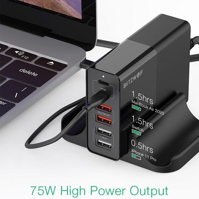BlitzWolf BW-S16 75W شاحن سريع 6-ميناء USB سطح المكتب PD محطة الشحن المزدوج PD3.0 المزدوج QC3.0 شاحن موبايل لفون 12