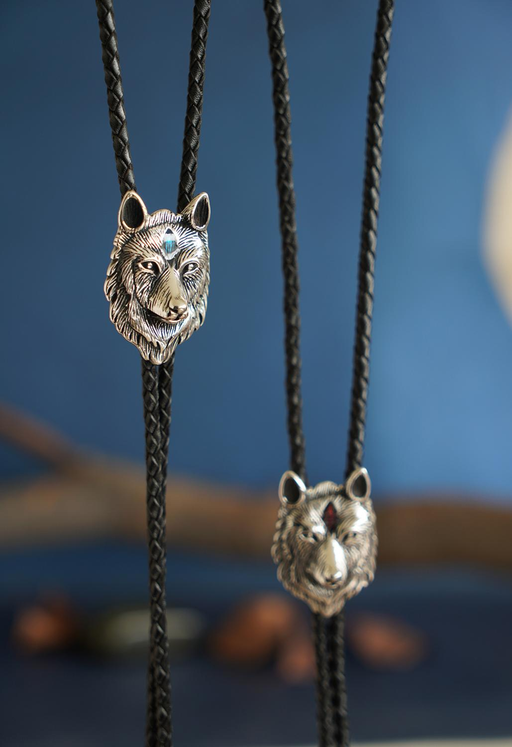 Wholesale Retail New Vintage Style Stainless Steel Wolf Bolo Tie Leather Necklace Free Shipping