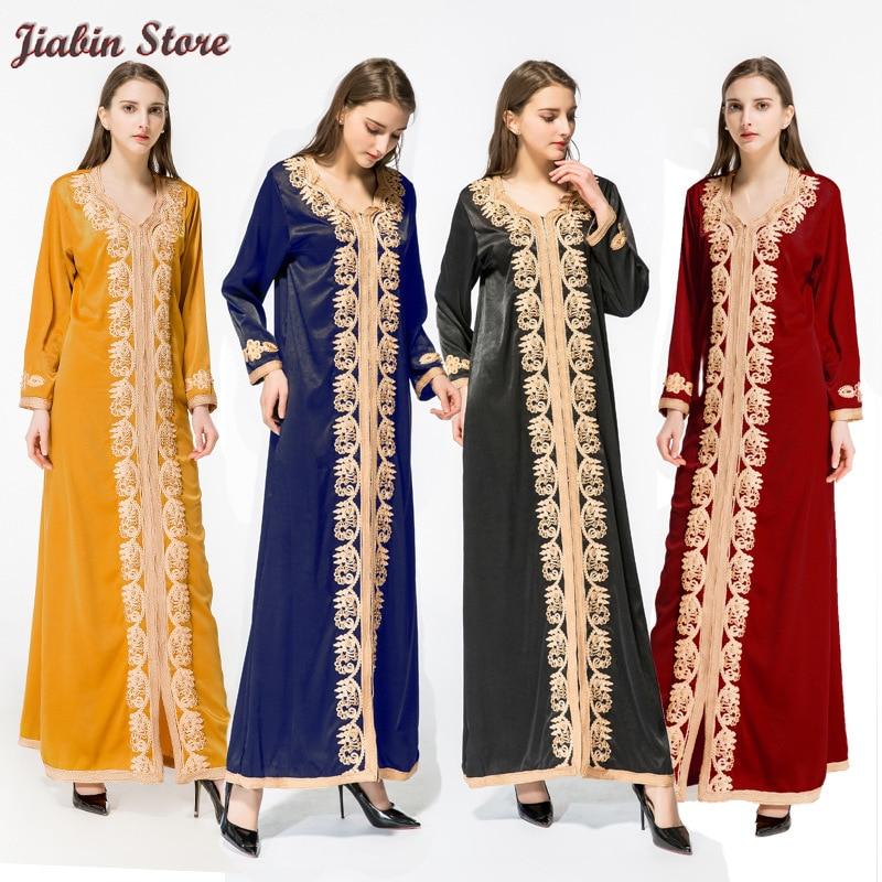 Vrouwen Moslim Dubai Kaftan Arabisch Lange Jurk Abaya Islamitische Kleding Kaftan Gown Fluwelen Maxi Cocktail Robe Marokkaanse Midden-oosten