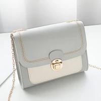 korean lock mini square bag women 2021 spring new embroidered bag color stitching wild shoulder bag student mobile phone bag