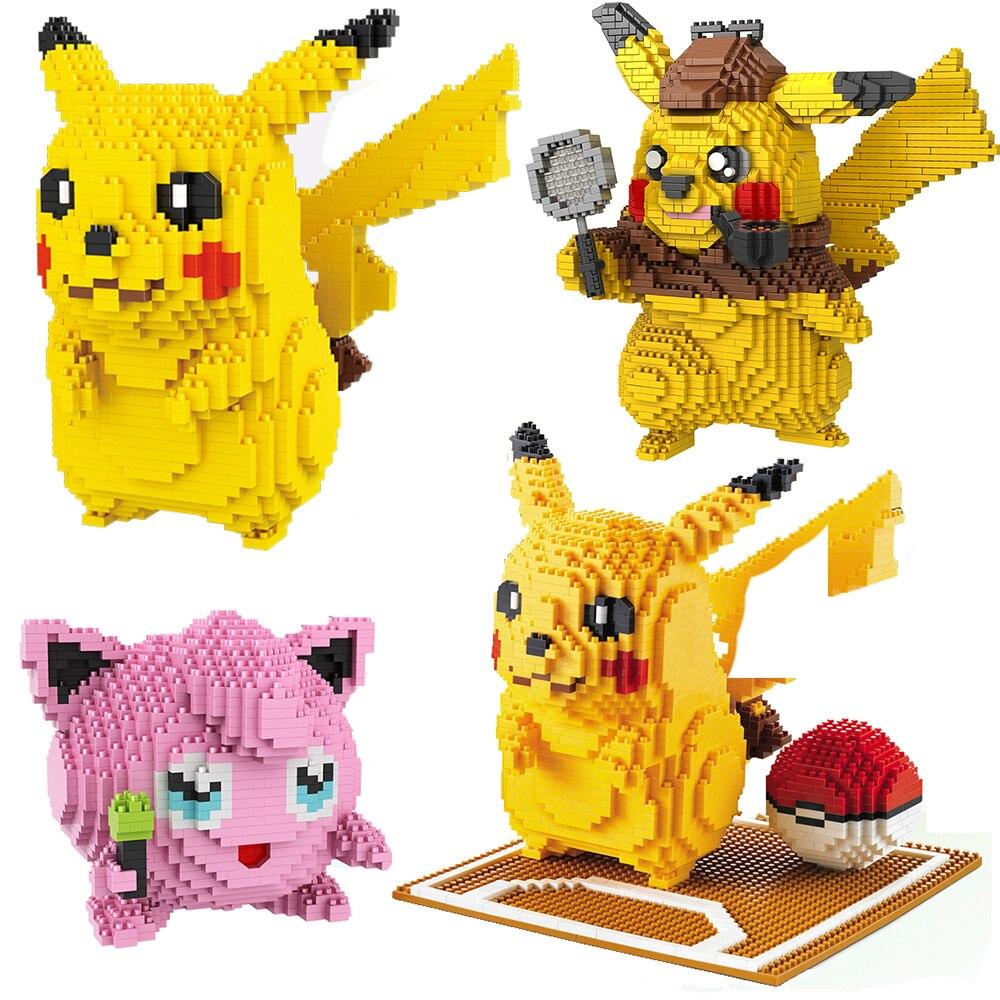 Poke аниме комплекты Pikachued алмаз мини микро блоки конструкторных блоков, Детские кубики, игрушки для игры