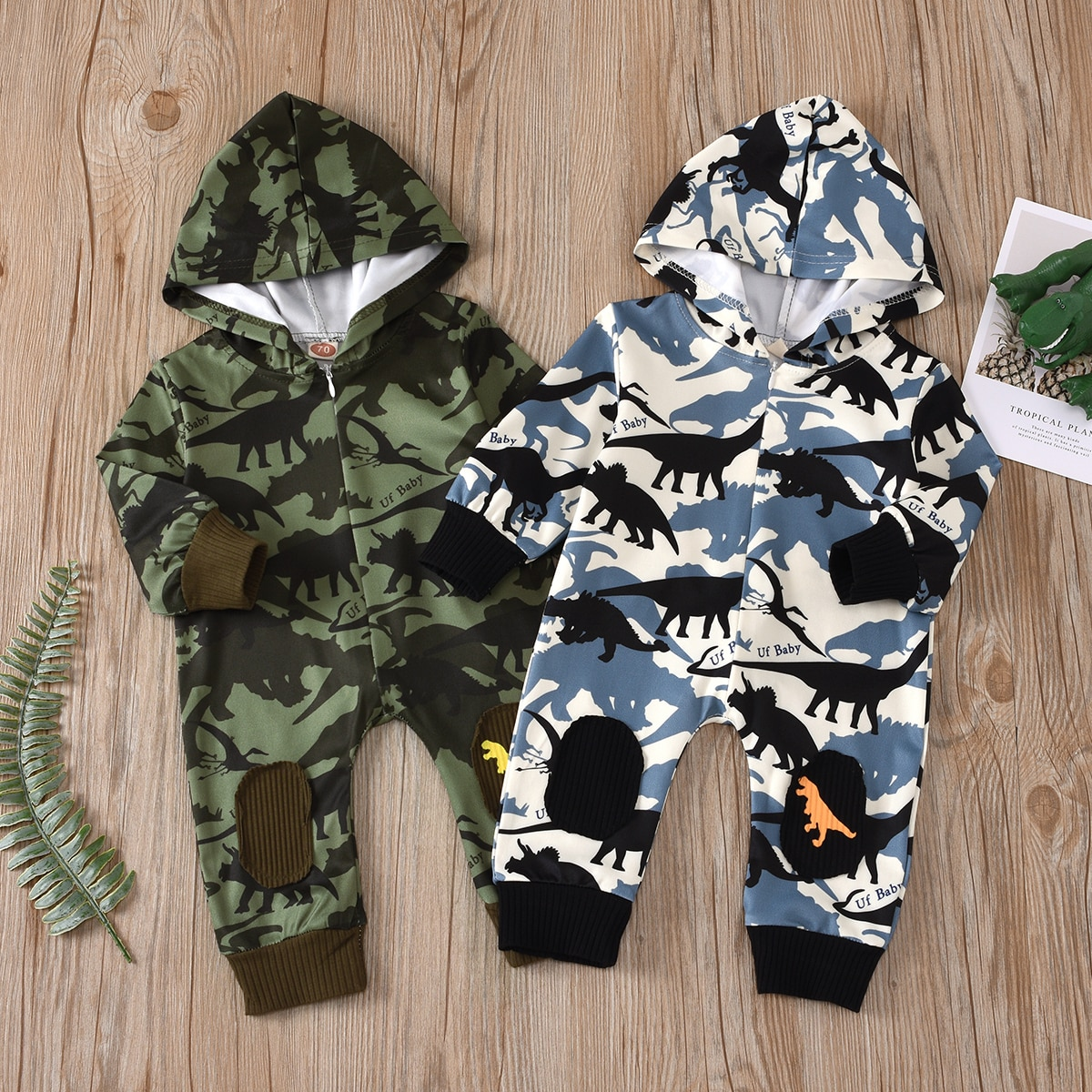 Imcute Baby Camouflage Dinosaur Jumpsuit Spring Autumn Fashion Casual Wild Long Sleeve Hooded Romper