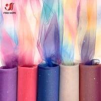 10yardsroll rainbow glitter tulle fabric diy soft netting craft gift tutu skirt home wedding dress stage doll clothing decor