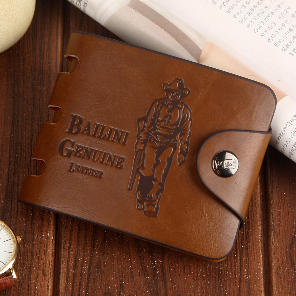 Man's wallets High Quality Retro Hunter Wallets Men Credit Business Card Holders Money Clip With Buc