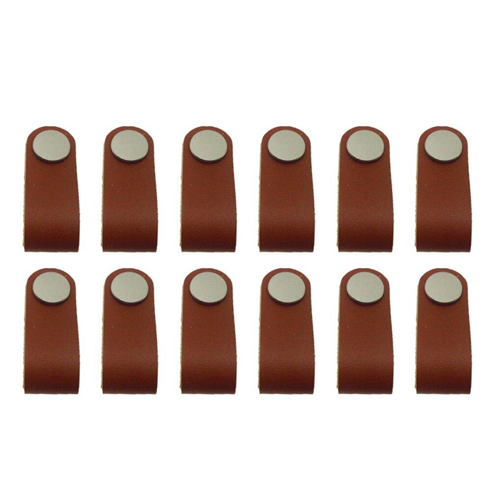 12x Schrank Griffe Handgemachte Leder Kommode Schublade Knöpfe Zieht Tür Griff Küche PuKnob netto Leder Griff Pull Knob