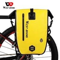 west biking 100 waterproof bicycle bags panniers quality tpu mtb road bike bag 25l large capacity trunk bag cycling accessories