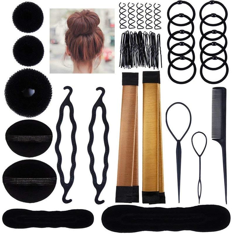 Modelador de cabelo clipe pente barrette ferramentas de estilo de cabelo conjunto para as mulheres elástico faixa de cabelo magia donut bun updo fabricante acessórios de cabelo