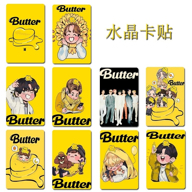 KPOP Bangtan Boys Butter Peripheral Crystal Card Sticker Bus Card Sticker Card Holder Jelly Card Sticker Kim Tae Hyung wholesale link for astro game tae kim