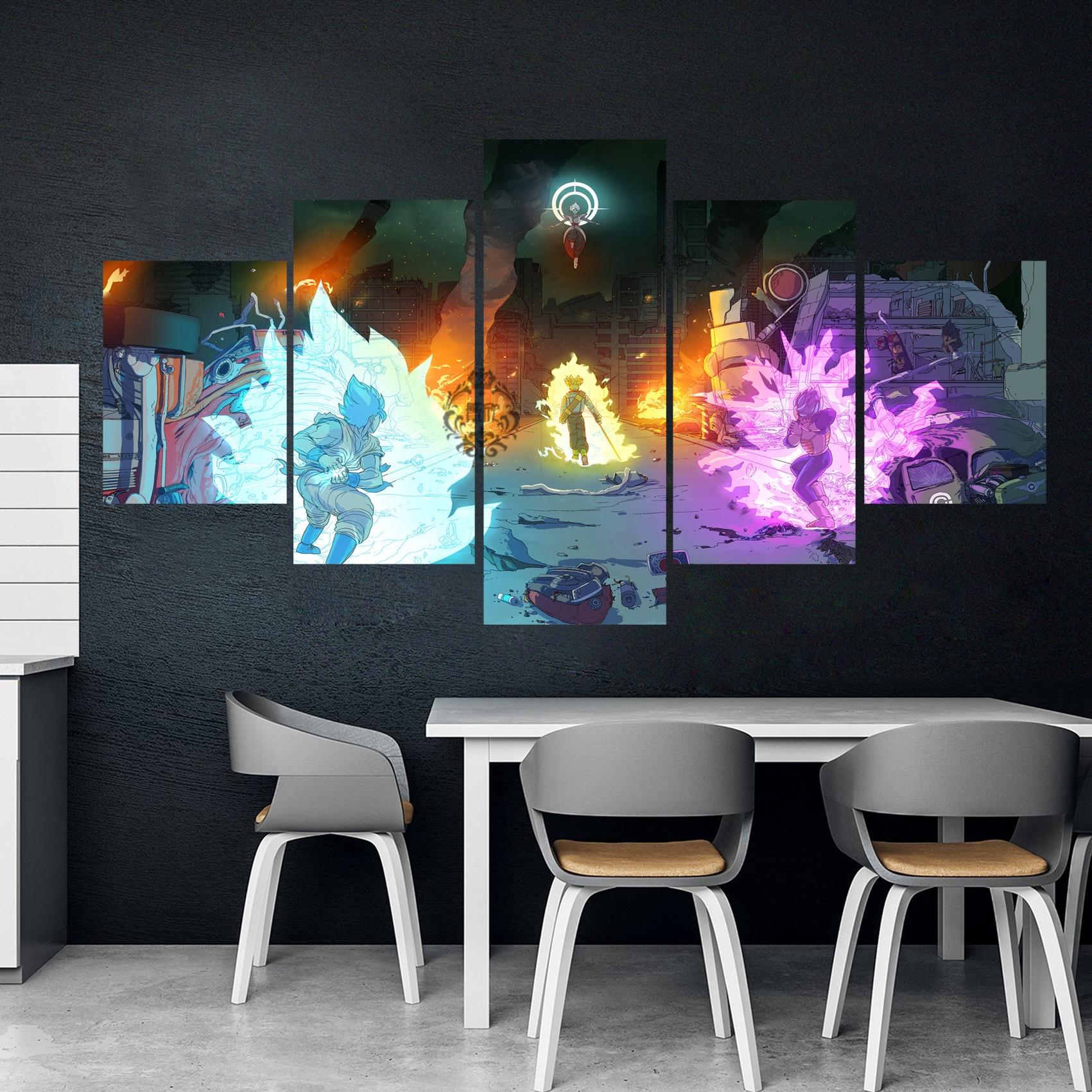 Cuadro Canva Modular para decoración del hogar, 5 piezas de dibujo de Dragon Ball Anime, póster de pared para el hogar, lienzo al por mayor
