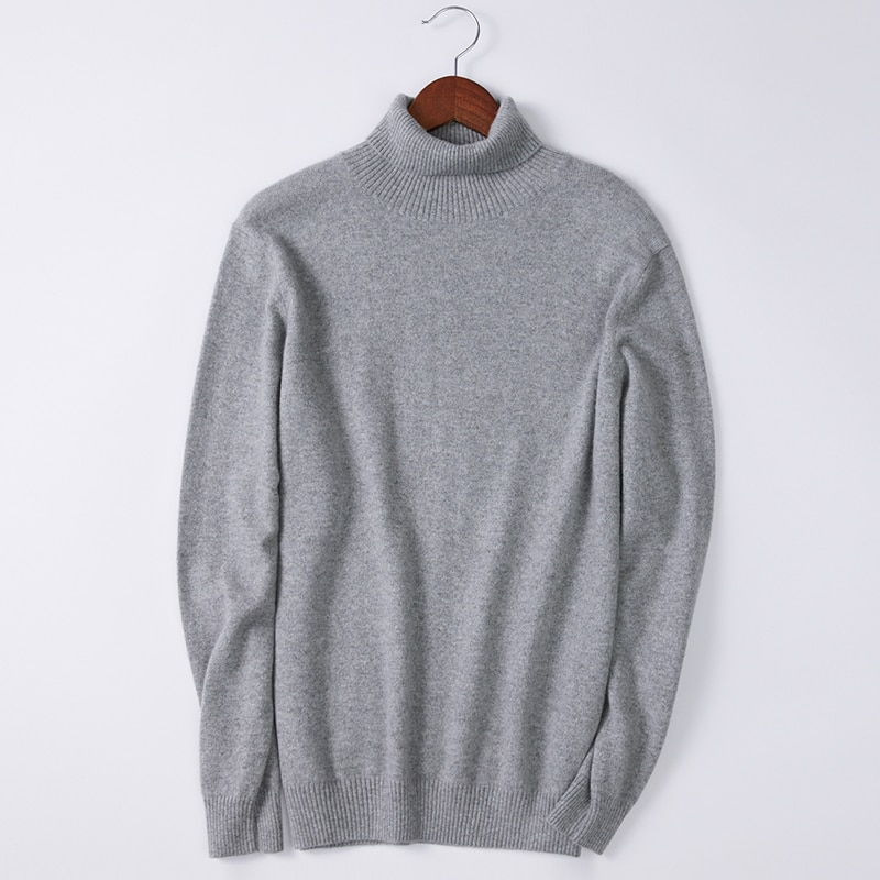 SHUCHAN100% Cashmere Men Turtleneck Sweater Knit Winter Autumn Warm High Quality England Style Business Korean Fashion Clothing