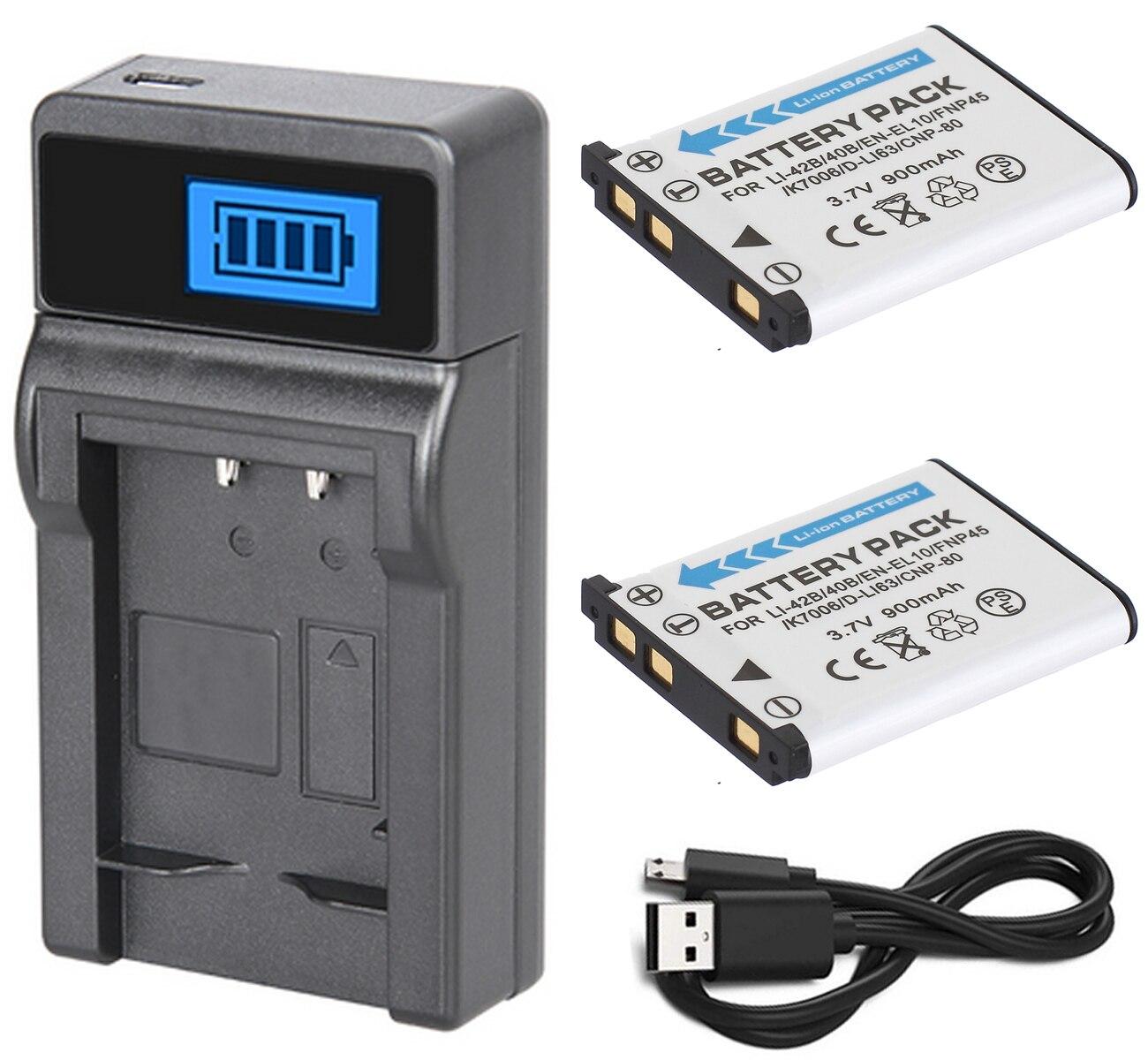 EN-EL10 batería (2 unidades) + cargador para cámara Digital Nikon CoolPix S60,...