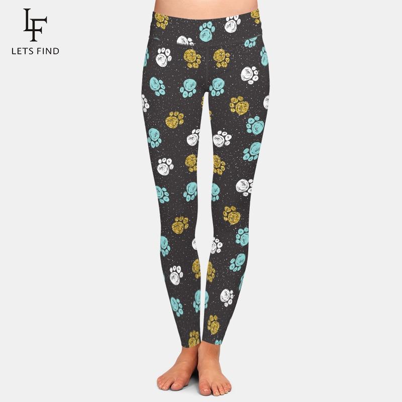 LETSFIND 2020 Hot Sales Women Dog Paw Print Leggings Fahsion High Waist Women Fitness Elastic Leggings Plus Size