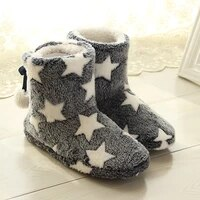 christmas sock shoes woman star pattern winter fur slippers women keep warm antiskid soft home women slippers for girls hot sale