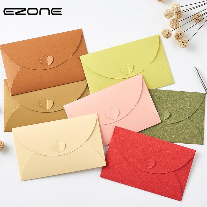EZONE 5 piezas en forma de corazón sobre de alta cantidad de papel Kraft sobre de Color caramelo sobre tarjeta de almacenamiento para oficina escolar