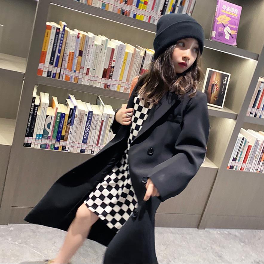الجملة طفلة الربيع الخريف خندق 2021 جديد أسود خمر نمط سترة فضفاضة في سن المراهقة ملابس خارجية الاطفال معاطف W285 6-16Y