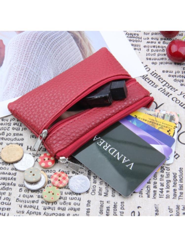 PU Leather Zipper Card Holder Wallet Purse Organizer Pocket Change Coin Bag
