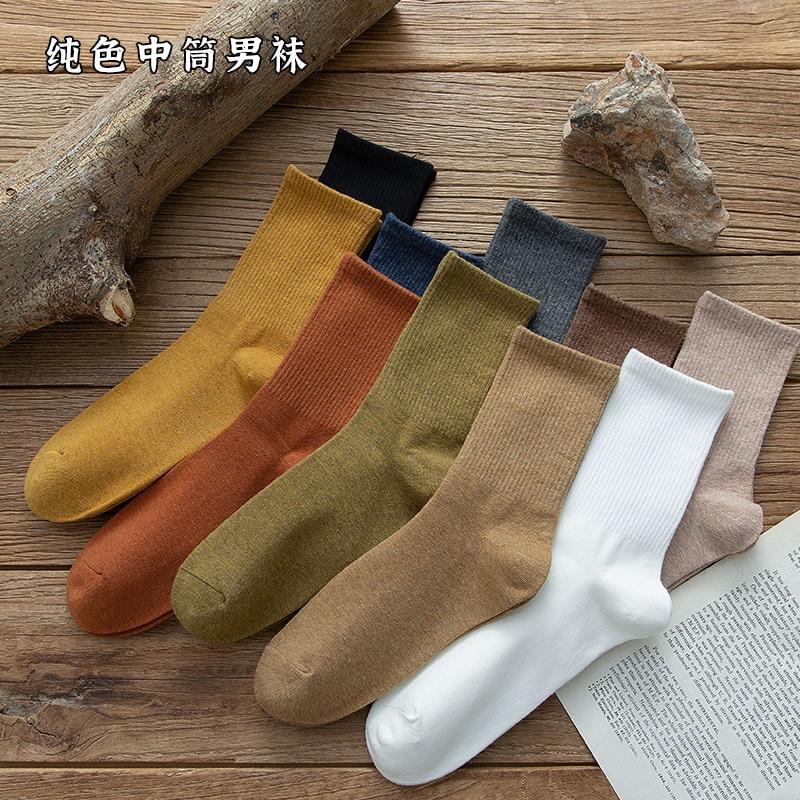 Мужские повседневные однотонные теплые носки без пятки из чесаного хлопка в Корейском стиле модные удобные мужские хлопковые носки