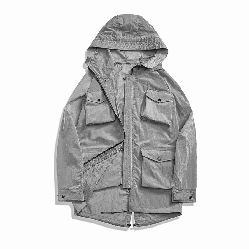 Куртка мужская нейлоновая средней длины, функциональная повседневная с капюшоном и несколькими карманами, свободная облегающая верхняя од...
