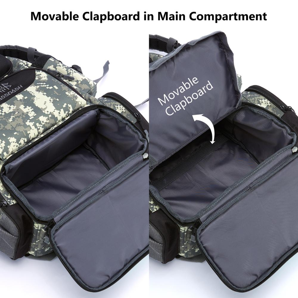 Fishing Tackle Backpack Water Resistant Lightweight Tactical Bag with Rod Holder and Protective Rain Cover enlarge