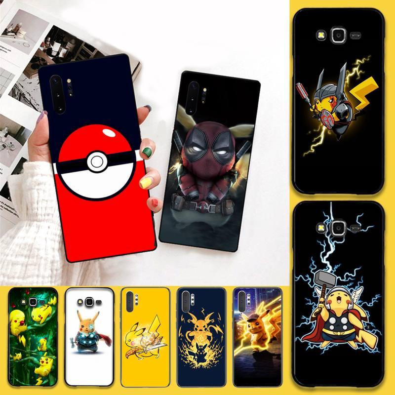 HPCHCJHM divertido Pikachu Pokemons Bling lindo caso de teléfono para Samsung Galaxy J7 J8 J6 Plus 2018 Nota 7 8 9 10 pro