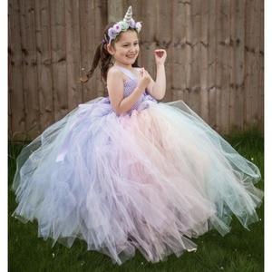 Girls Fluffy Pastel Unicorn Flower Tutu Dress Kids Crochet Tulle Long Dress Ball Gown with Hairbow Children Party Costume Dress