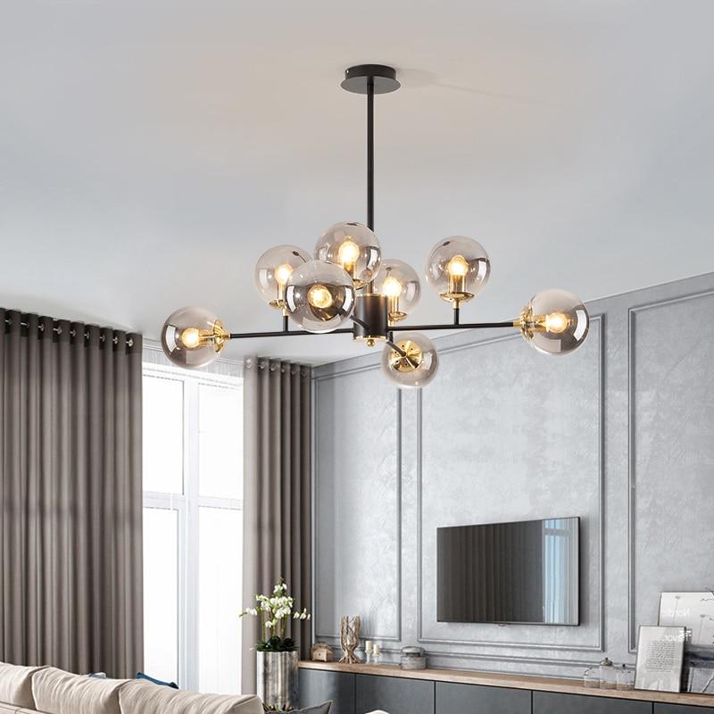 الحديثة Led الثريا لغرفة المعيشة غرفة نوم المطبخ الذهب كرة زجاجية بريق سقف معلق مصباح تركيبات إضاءة ديكوريّة المنزل