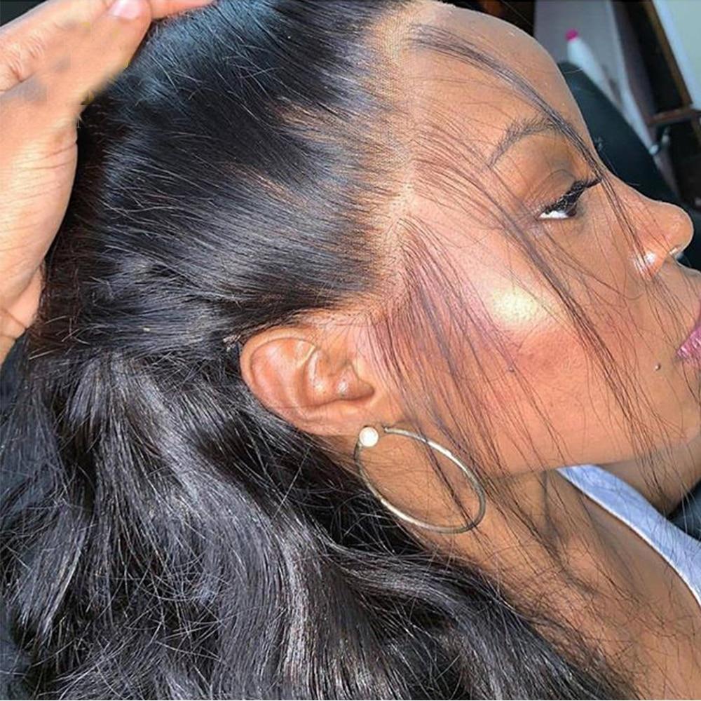 Safira brasileira 360 peruca frontal do laço peruca reta 360 perucas de cabelo humano frontal do laço para preto