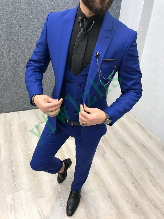 New Arrival One Button Groomsmen Peak Lapel Groom Tuxedos Men Suits Wedding/Prom Best Man Blazer ( Jacket+Pants+Vest+Tie) B14