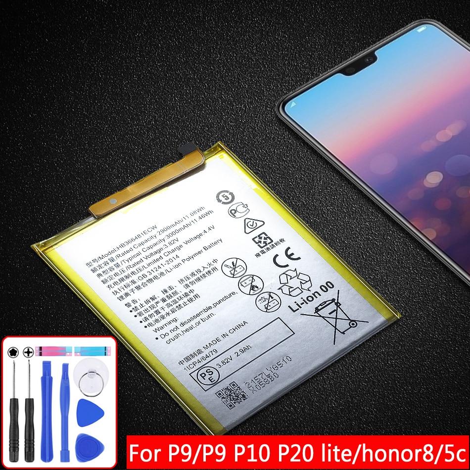 Batería de 3000mAh para Huawei Ascend P9/(P9 P10 P20) Lite/P8 Lite 2017/Honor 8 5C 7C 7A/Lite honor8/Nova Lite 3E/G9 HB366481ECW